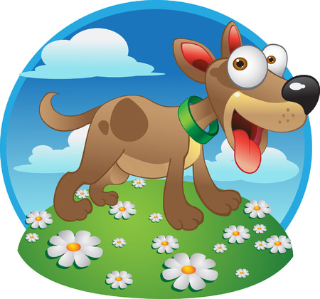comic dog on the green grass