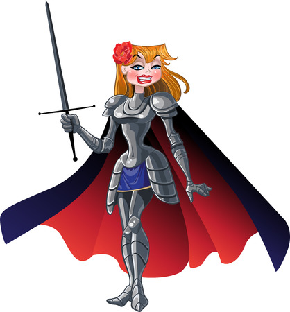noble princess knight in cloak with sword Stock Vector - 6098964