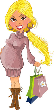 frau ganzk�rper: schwangere Frau in violett Pullover