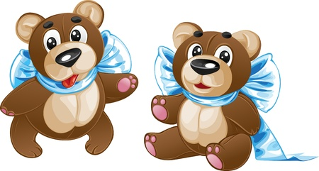 Kids soft toy - cute teddy bear with a bow in different poses Illustration