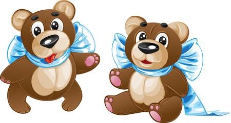 pl�schtier: Stofftier Kids - s��e Teddyb�r mit einem Bogen in verschiedenen Posen