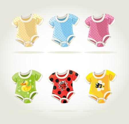 frau dusche: nette bunte Kost�me f�r Babys mit lustigen Prints Illustration
