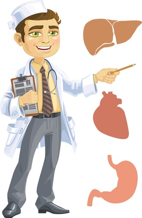 young male: Cute doctor - indicating the liver, heart, stomach