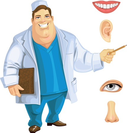 eyelids: Cute fat doctor showing on part of the face Stock Photo