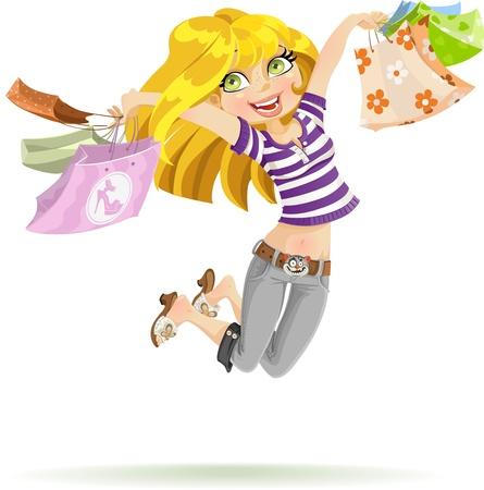 designer bag: Chica adicta a las compras con bolsas de compras en el fondo blanco
