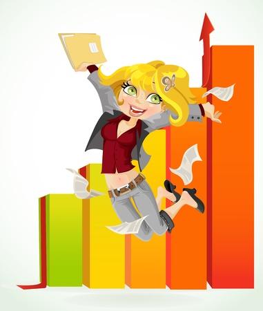 Business dame gelukkig door het feit dat de rapporten doorgegeven Stock Illustratie