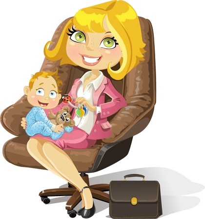Business mom with baby boy in an office chair Vector