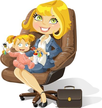 leather chair: Mamma affari con bambina in una sedia da ufficio