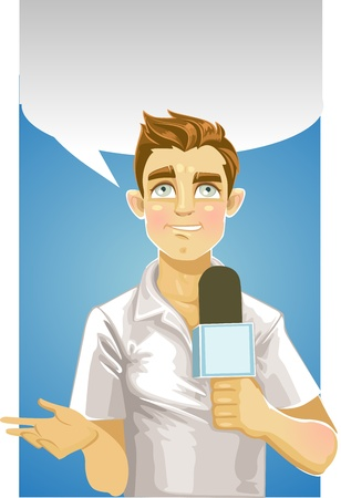 Young reporter men and speech bubble Vector