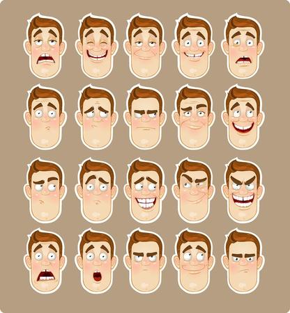 carita feliz caricatura: Hombre joven emociones - alegría, tristeza, dolor, conmoción, alegría, icono de la inspiración