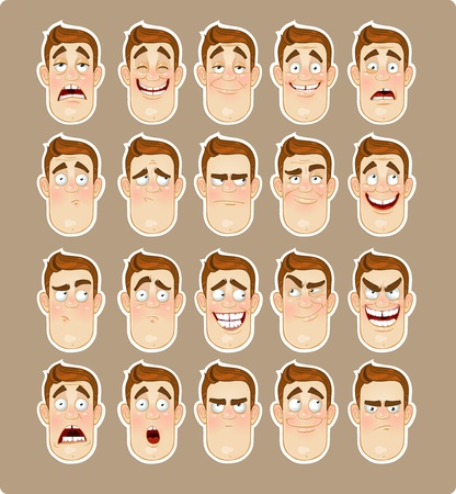 Hombre joven emociones - alegría, tristeza, dolor, conmoción, alegría, icono de la inspiración