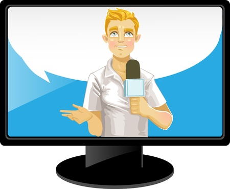Blond reporter boy with speach bubble on TV Vector