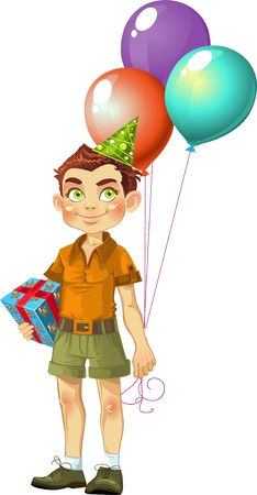 boy with a gift for the birthday party Vector