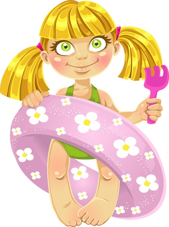 little girl beach: little girl in a swimsuit with a swimming circle Illustration
