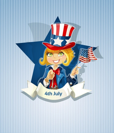 4th July poster with pretty girl Vector