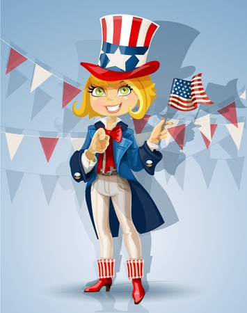 Blond girl in a suit of Uncle Sam Celebrates 4th of July Vector