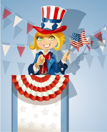 Girl in a suit of Uncle Sam stands on the podium Vector