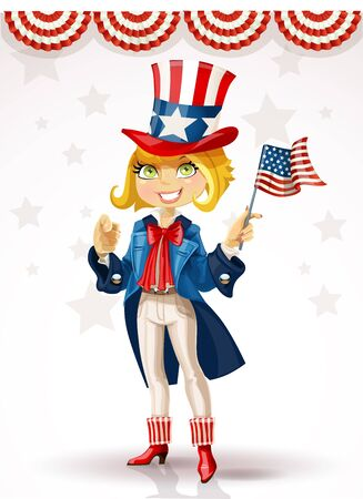 Cute blond girl in a suit of Uncle Sam Vector