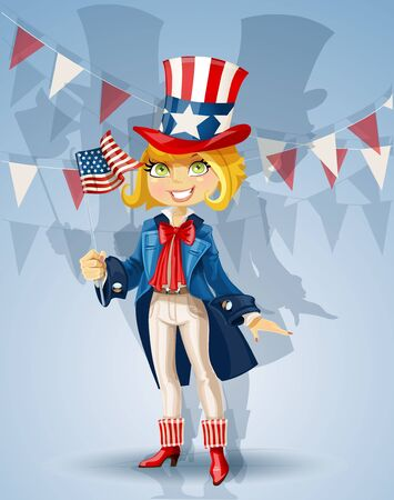 Girl in a suit of Uncle Sam and with flag Celebrates 4th July Vector