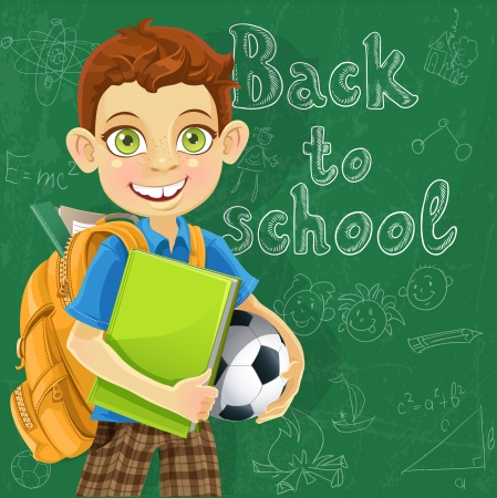 Banner - Back to school - boy with backpack at the board ready to learn Vector