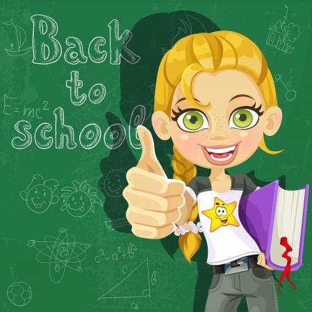 cartoon school girl: Banner - Volver a la escuela - linda chica en el tablero listos para aprender