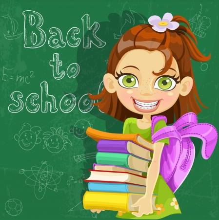 child of school age: Banner - Back to school - cute girl with books at the board ready to learn Illustration
