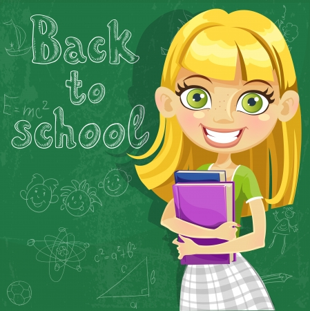 Banner - Back to school - cute teenager girl at the board ready to learn Stock Vector - 15205895
