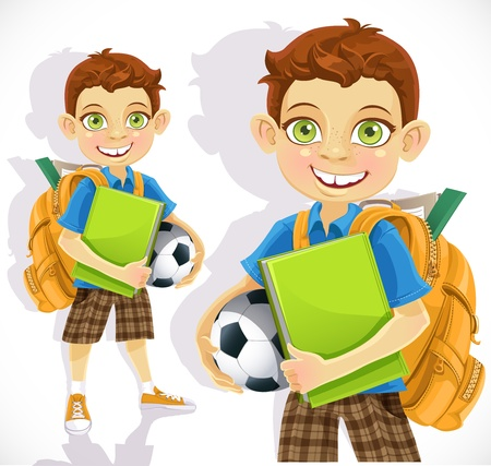 back ground: cute boy student with a backpack and a textbook