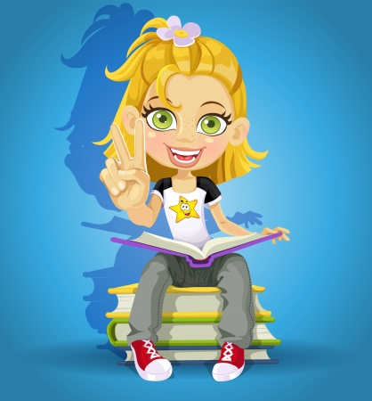 victory sign: schoolgirl read on a pile of books and makes the sign of peace Illustration