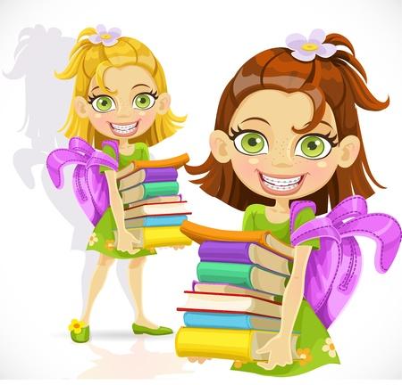 cartoon school girl: Colegiala con una pila de libros