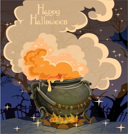 boiler: Halloween banner with the boiler - festive midnight October 31