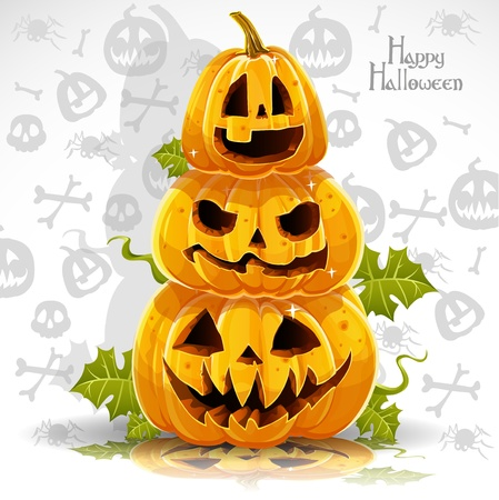 Happy Halloween banner with terrible pumpkins Stock Vector - 15113390