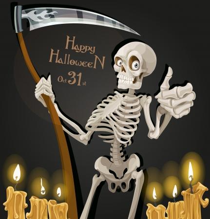 esqueleto humano: La muerte es un esqueleto con una guadaña - invitación del partido de Halloween Vectores