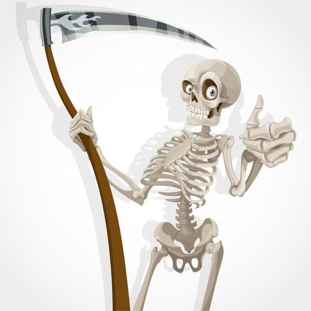 Death-esqueleto con una guadaña muestra que todo está bien