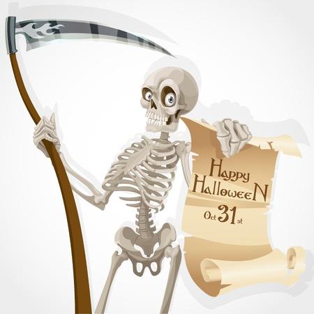 guadaña: Esqueleto con una guadaña muestra un cartel con una invitación a una fiesta de Halloween