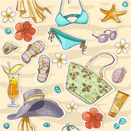 sunscreen: color seamless background on a beach theme - goggles, a swimsuit, clams Illustration