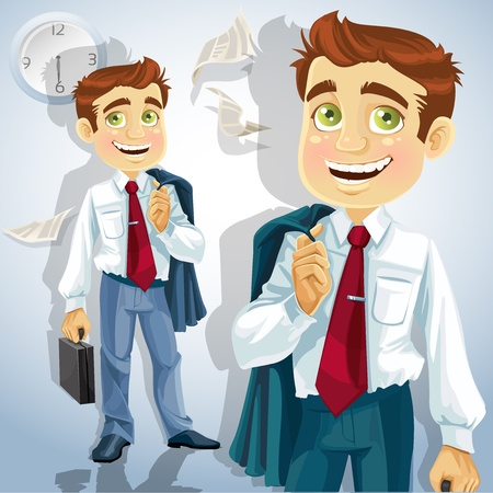 Happy businessman is going home after a long intense day Stock Vector - 15113333