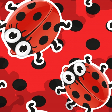 Red background with cute cartoon ladybug Vector
