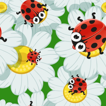 Seamless background with daisies and baby ladybirds Vector
