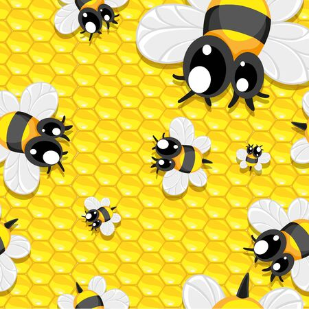 mead: Seamless background with honey and baby bees Illustration