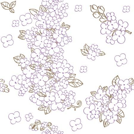 Naadloze patroon van paarse bloemen lila Vector Illustratie