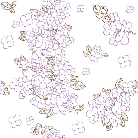 lilac flower: Seamless pattern of purple flowers lilac Illustration