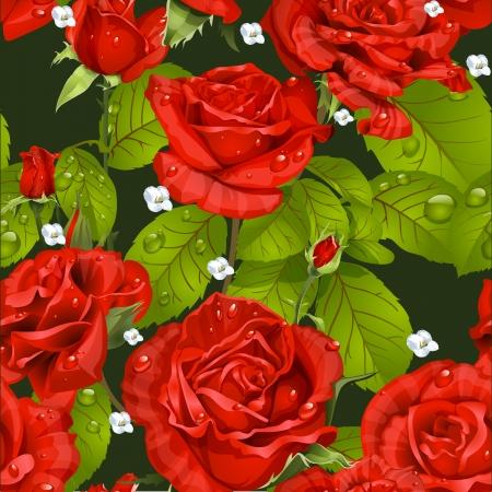 Naadloze patroon van rode rozen op een donkere groene achtergrond