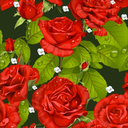 rosebuds: Seamless pattern of red roses on a dark green background Illustration