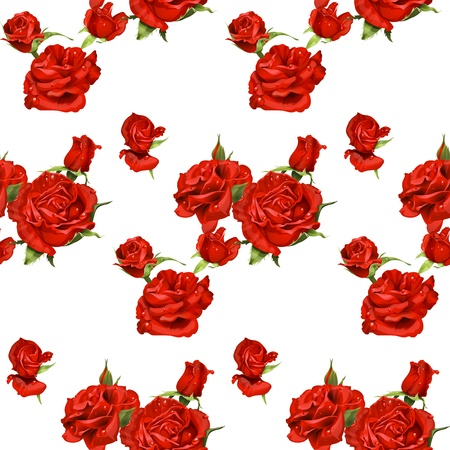 mildew: seamless pattern of red roses on a white background
