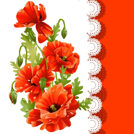 pfingstrosen: schöne Postkarte mit roten Mohnblumen Illustration
