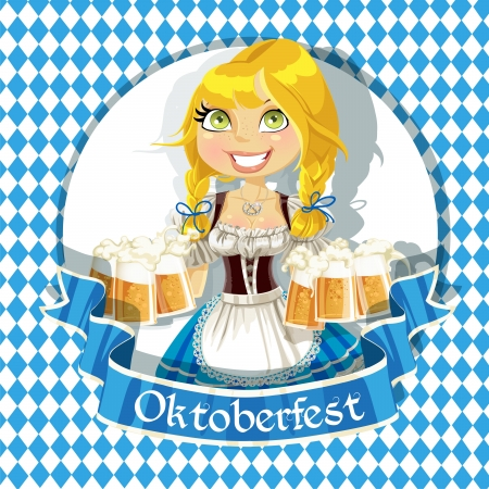 Pretty Blond with a glass of beer celebrating Oktoberfest bunner Vector