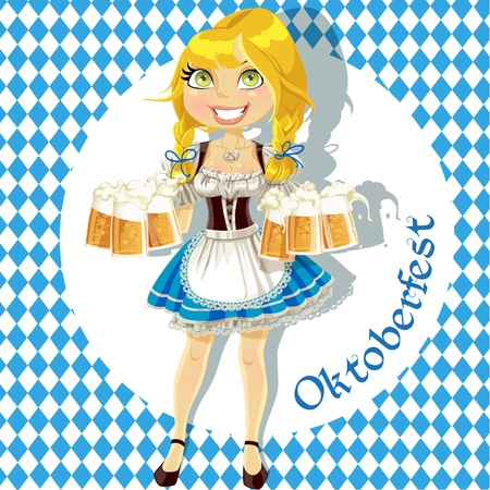 Pretty Blond with a glass of beer celebrating Oktoberfest Stock Vector - 15113344