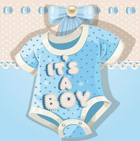 baby illustration: Baby shower blue card with baby shoes