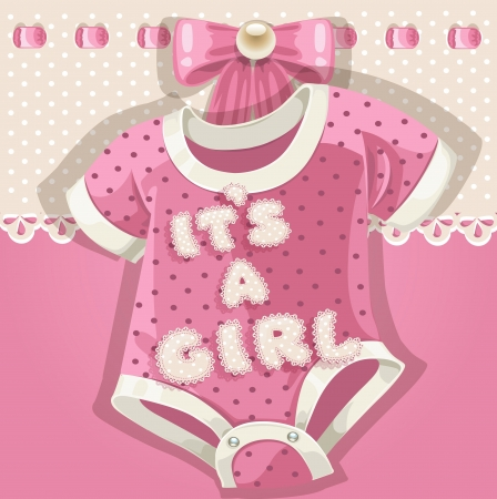 hanging girl: Baby shower pink card with baby shoes Illustration